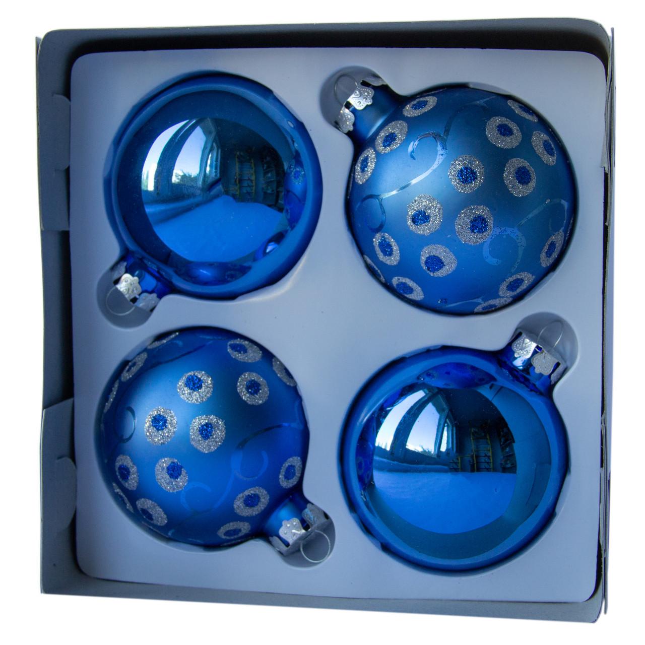 Набор елочных шаров d7*4шт, стекло, 2 синий и 2 синий в точку (390335-21)