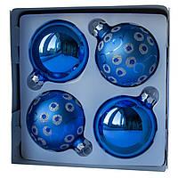 Набор елочных шаров d7*4шт, стекло, 2 синий и 2 синий в точку (390335-21), фото 1