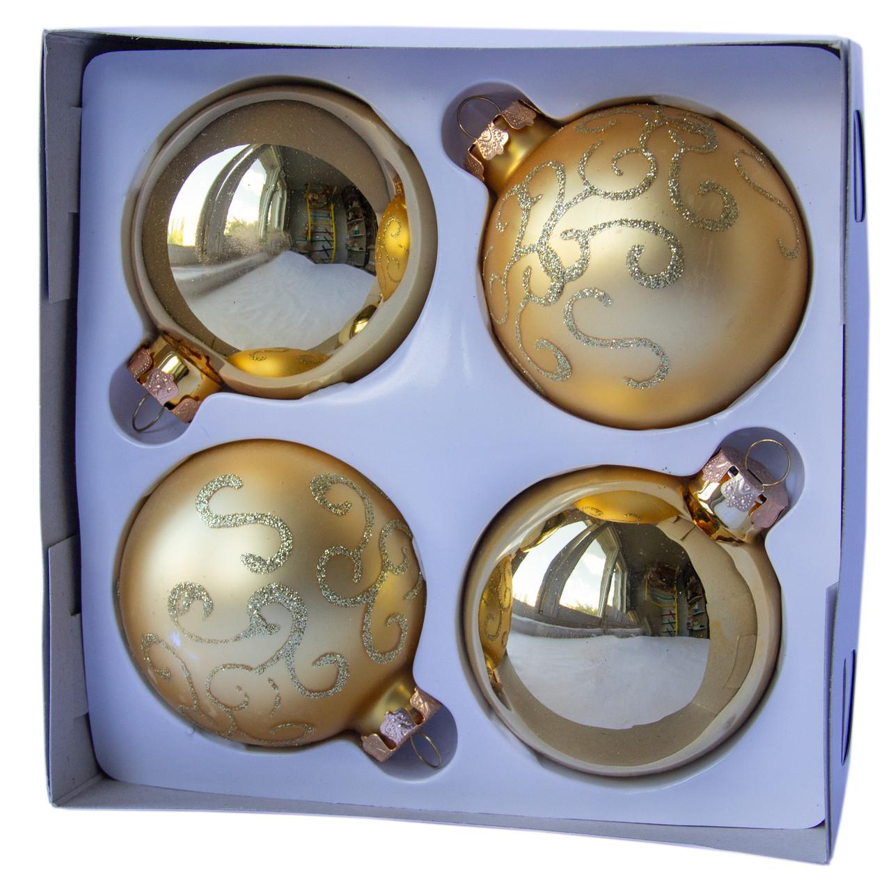Набор елочных шаров d7*4шт, стекло, золото в волны (390335-6)