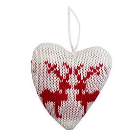 Елочная игрушка мягкая - Сердце, 10 см, красный с белым, текстиль (430062-2)
