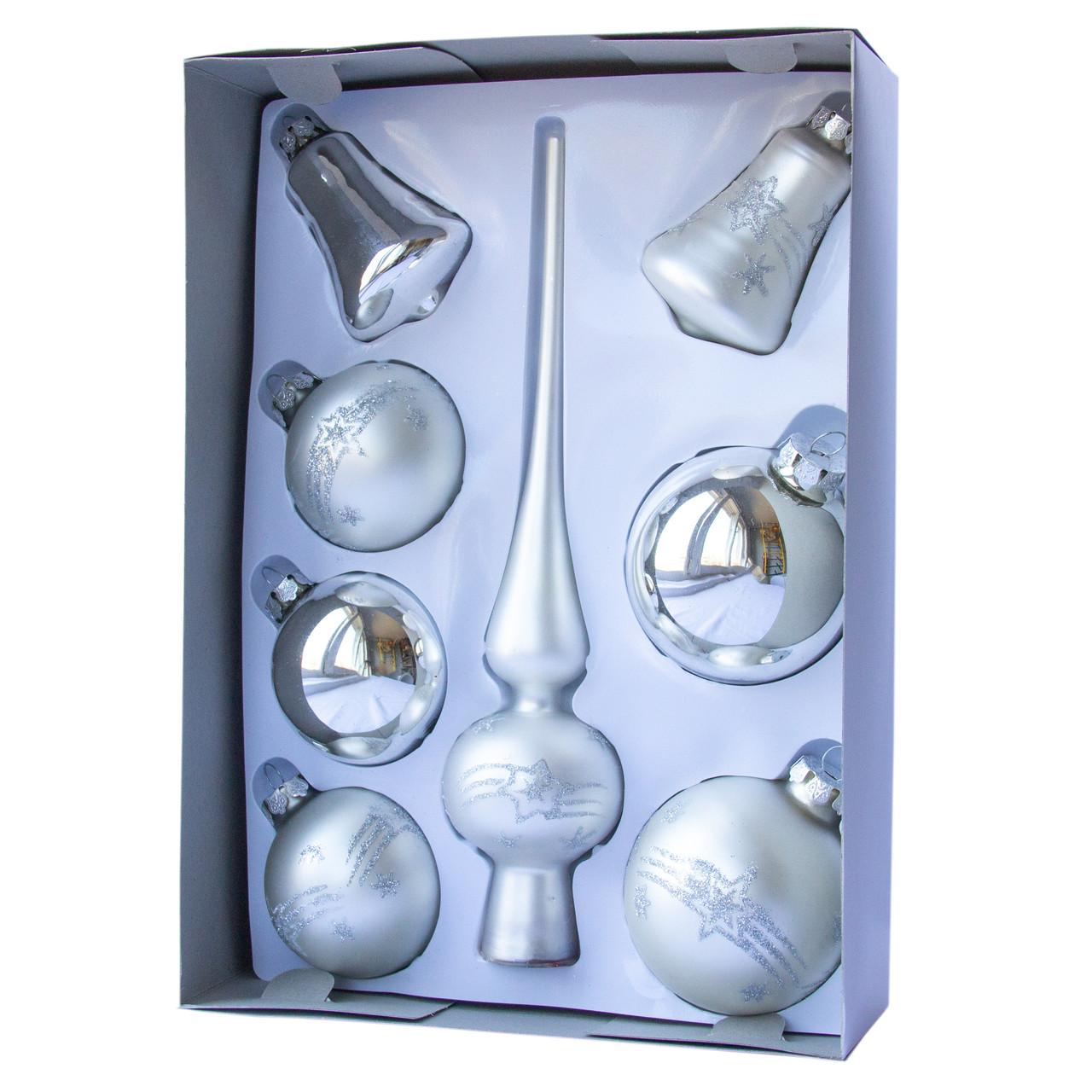 Набор елочных шаров с верхушкой, 8шт, стекло, серебро маленькие звезды (390281-2)