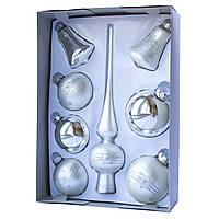 Набор елочных шаров с верхушкой, 8шт, стекло, серебро маленькие звезды (390281-2), фото 1