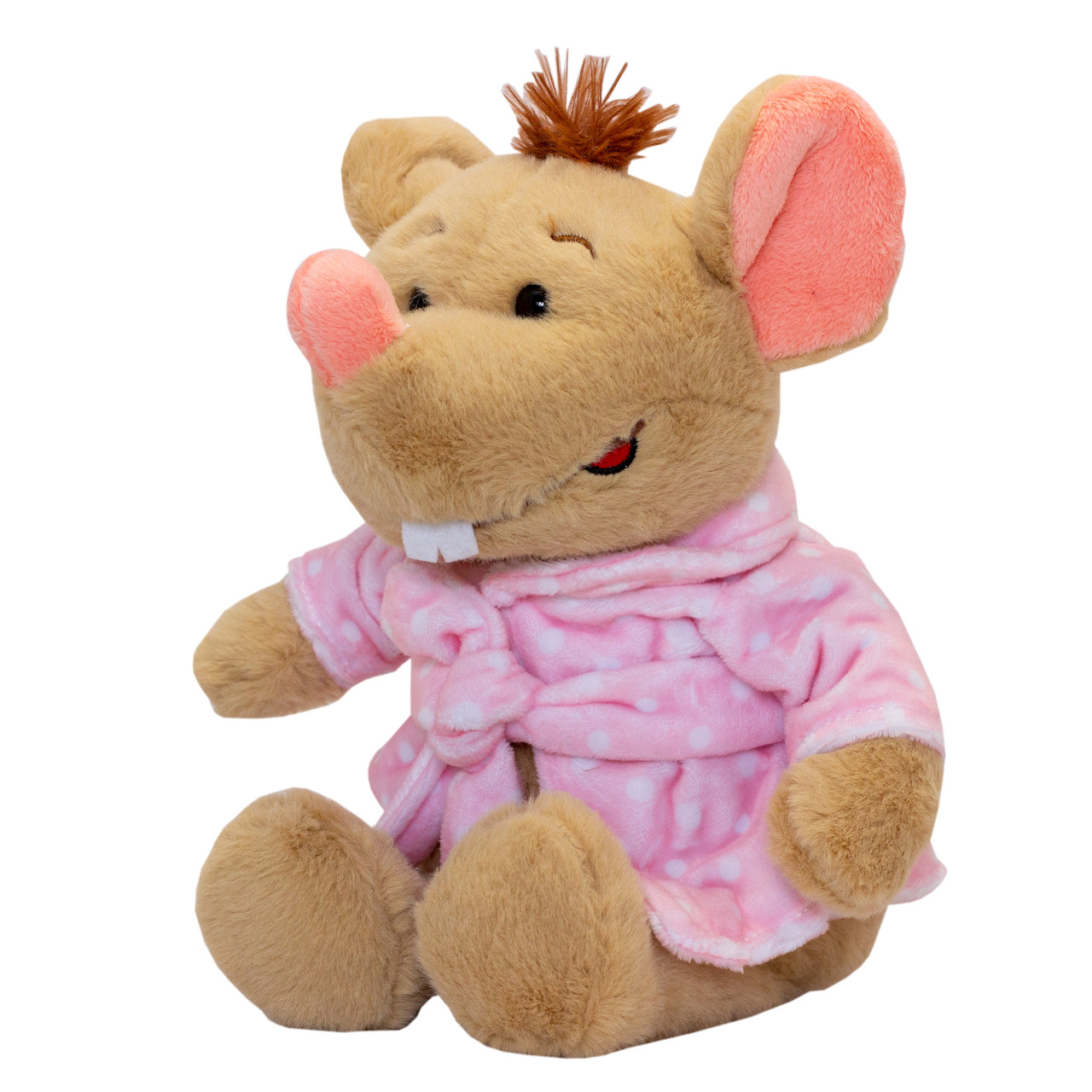 М'яка іграшка - щур в рожевому халаті, 24 см, бежевий, поліестер (M1810024D-1)