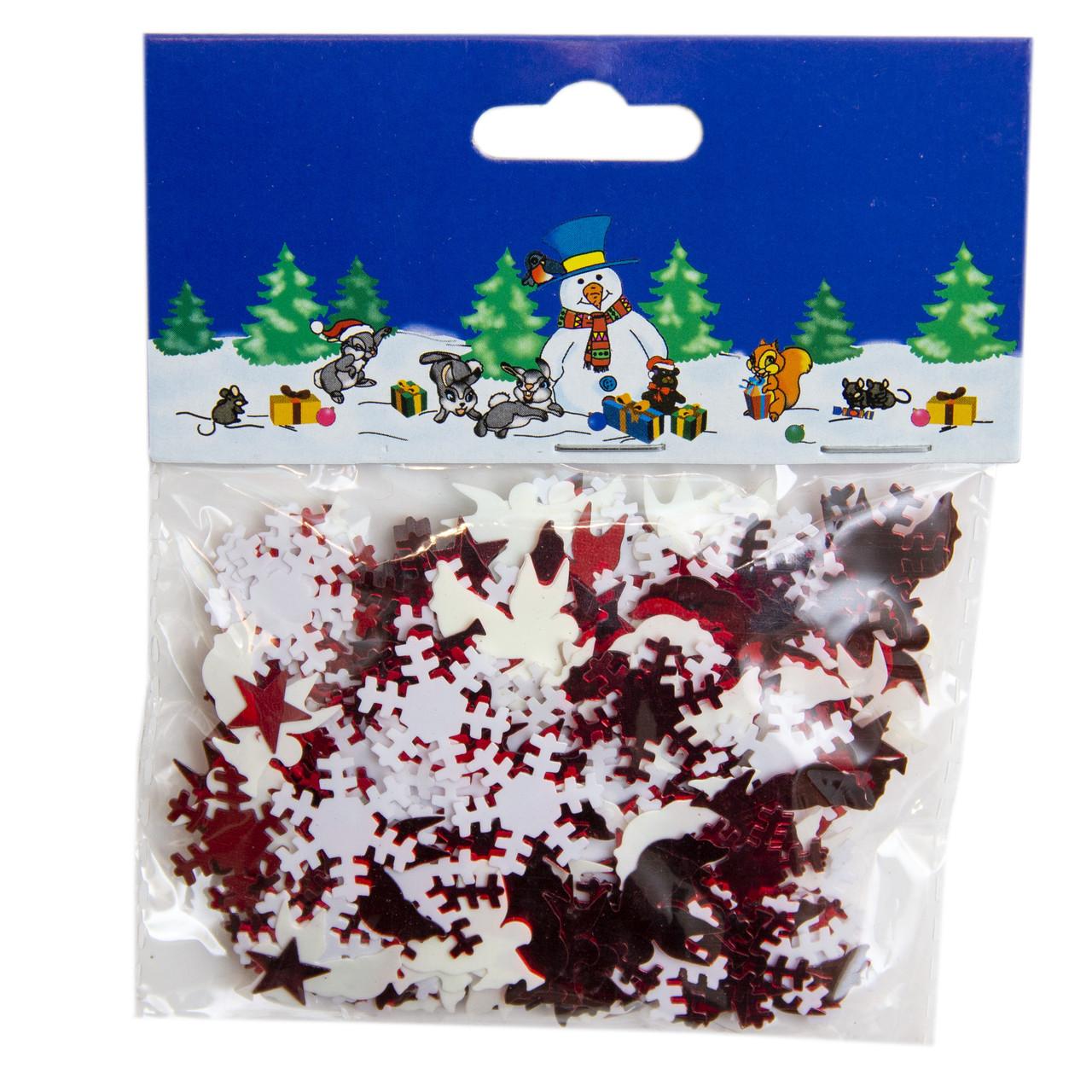 Конфетти, звездочки и снежинки, 15 г, белый, красный, PET (200565)
