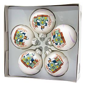 Набір ялинкових кульок 6*5 шт, матові з розписом, скло, білі (390410-1)