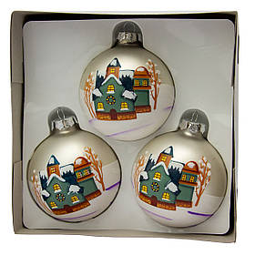 Набір ялинкових кульок 8*3 шт, матові з розписом, скло, срібло (390427-1)