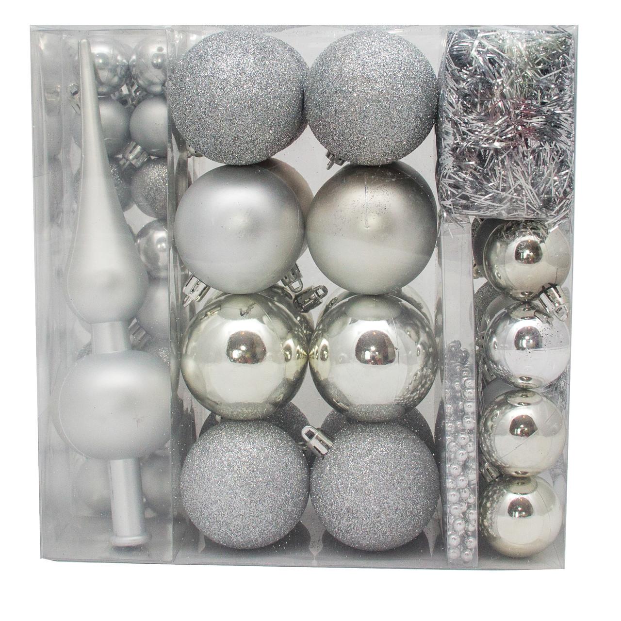 Набор елочных игрушек, 63 шт., пластик, серебро (030262-1)