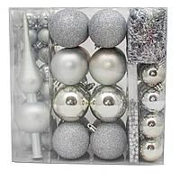 Набор елочных игрушек, 63 шт., пластик, серебро (030262-1), фото 1