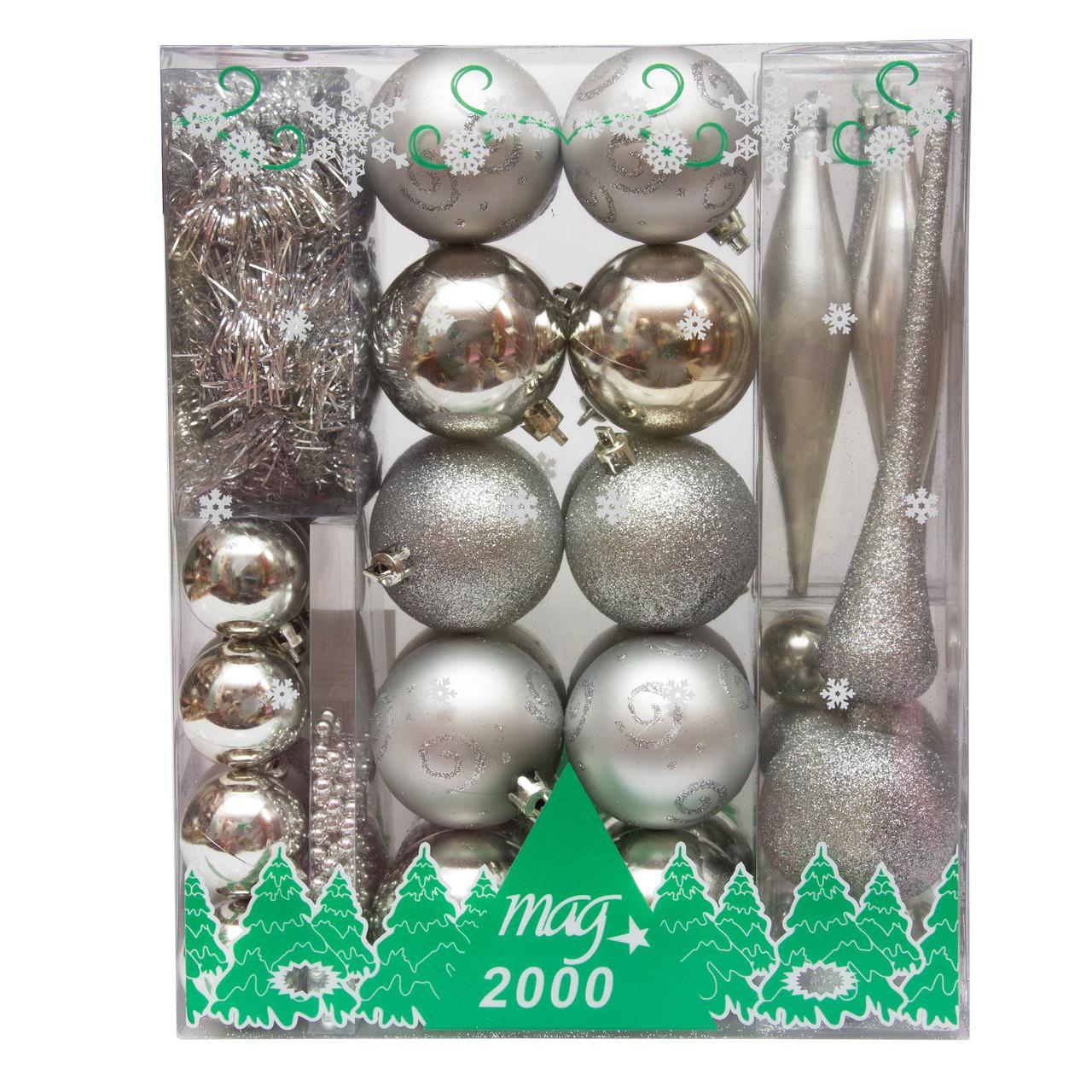 Набор елочных игрушек, 55 шт., пластик, серебро (030279-1)