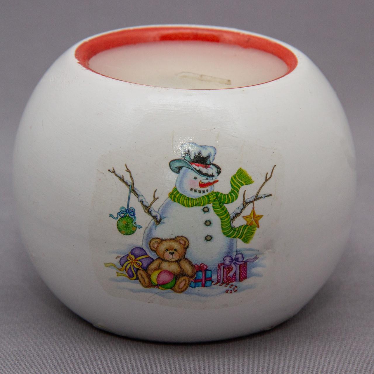 Подсвечник со свечой Снеговик, 8,4*8,4*6,4см (790821-1)