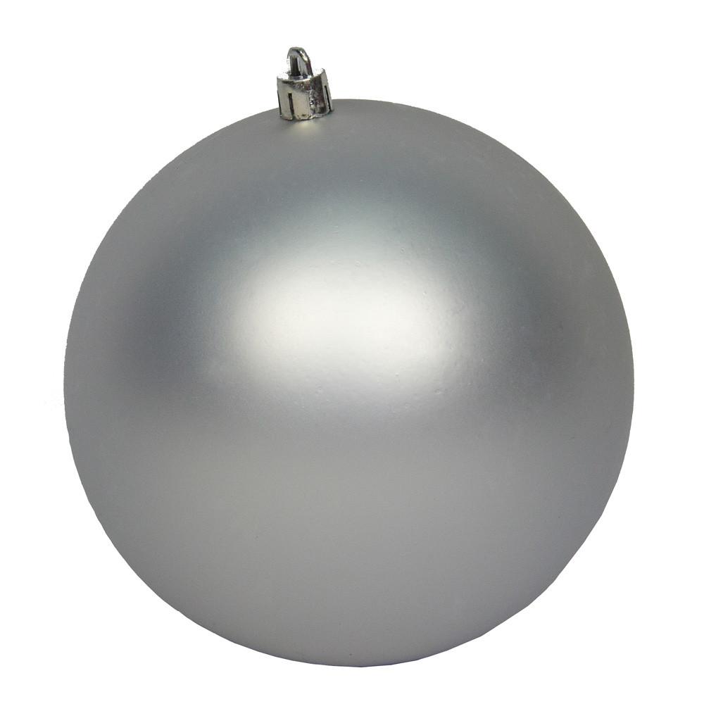 Большая елочная игрушка - шар, 25 см, пластик, серебристый (034161)