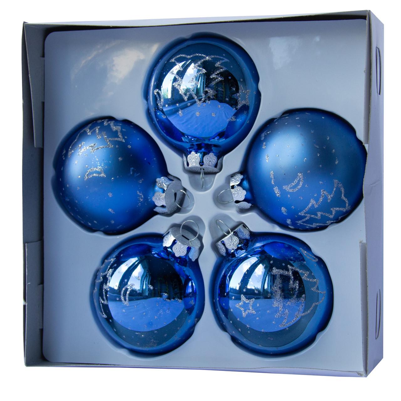 Набор елочных шаров с декором 6*5шт (3 гл., 2 мат.), стекло, синий елка(390304-5)