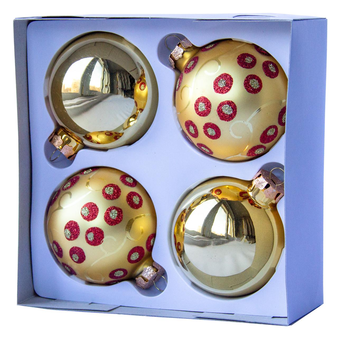 Набор елочных шаров d7*4шт, стекло, золото в красную точку (390335-5)