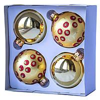 Набор елочных шаров d7*4шт, стекло, золото в красную точку (390335-5), фото 1