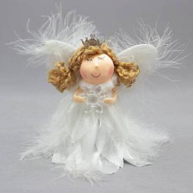 Новогодняя елочная игрушка - фигурка Ангелочек со снежинкой, 11 см, белый, текстиль (220037-2)