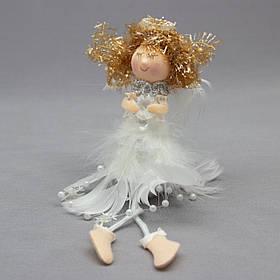 Новогодняя елочная игрушка - фигурка Ангелочек со снежинкой, 20 см, белый, текстиль (220068-2)