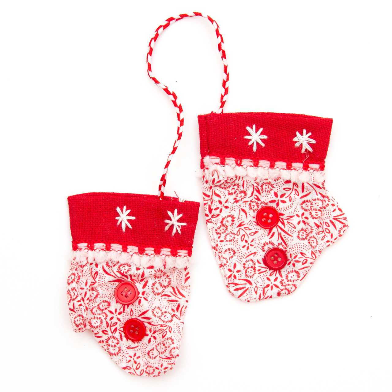 Бело-красные тканевые украшения, рукавички, 20см (430314-2)
