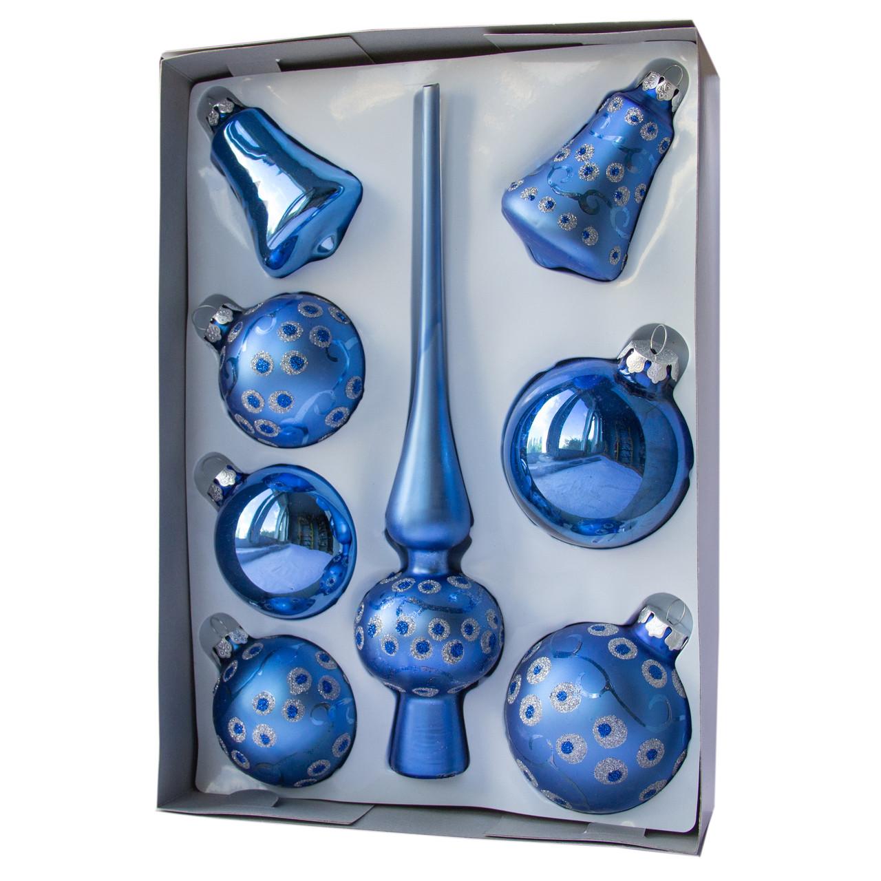 Набор елочных шаров с верхушкой, 8шт, стекло, синий точки (390281-14)