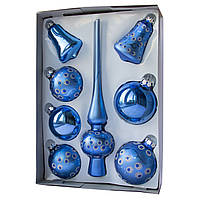 Набор елочных шаров с верхушкой, 8шт, стекло, синий точки (390281-14), фото 1