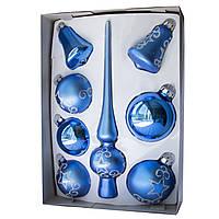 Набор елочных шаров с верхушкой, 8шт, стекло, синий большие звезды (390281-16), фото 1