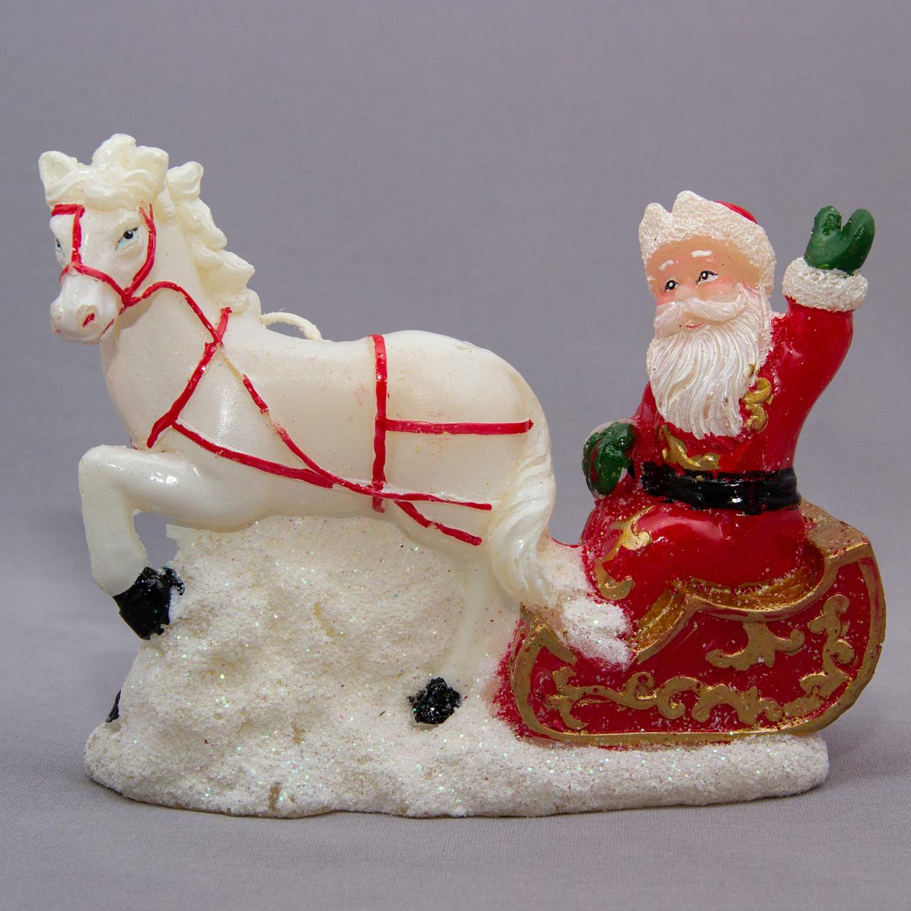Свечка - Лошадка с Дедом Морозом на санях, 14,5*5,6*11,5 см, белый с красным, воск (790456)