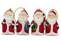 Набор елочных игрушек - Дед Мороз, 4 шт, 6,3 см, красный, керамика (013081)