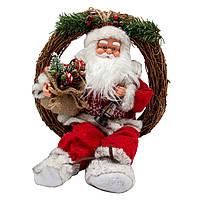 Новогодняя сувенирная фигурка Дед Мороз красный музыкальный танцующий, с подарками, 41 см, (230341)
