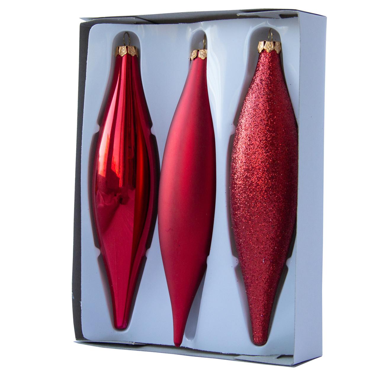 Набор елочных игрушек - сосульки, 3 шт, 3*15 см, красный, стекло (390120-3)