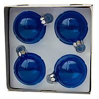 Набор елочных шаров 6*4шт., стекло, синий (390601-4), фото 1