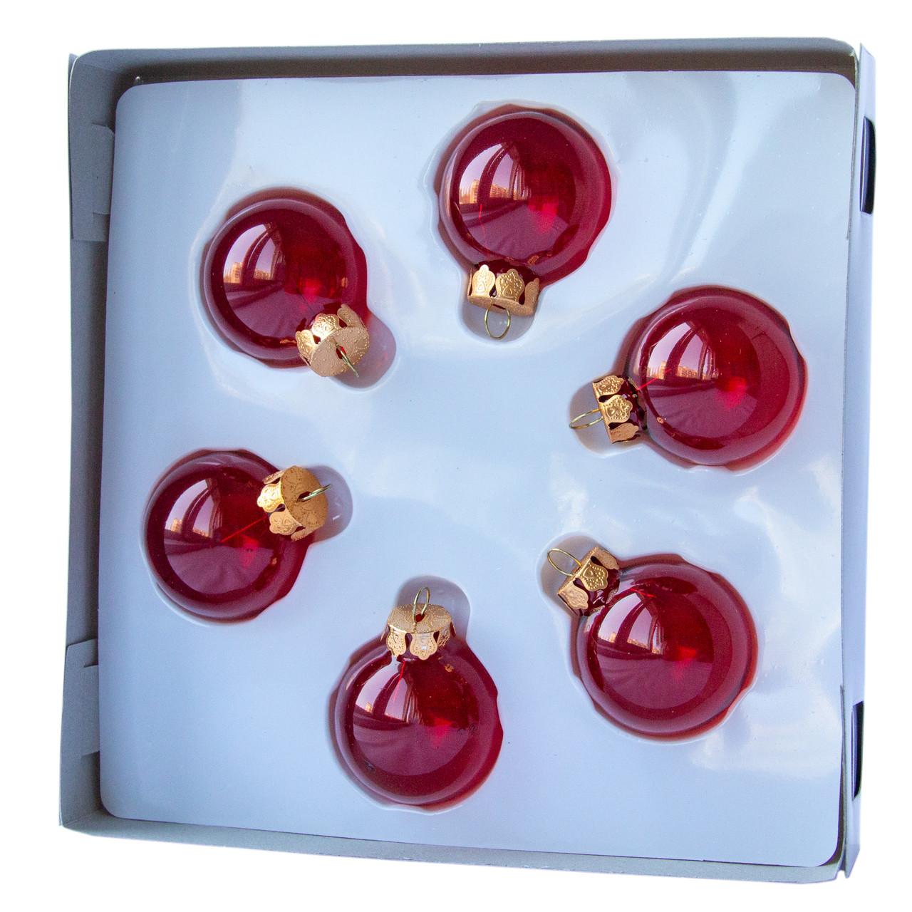 Набор елочных шаров 4*6 шт., стекло, красный (390588-3)