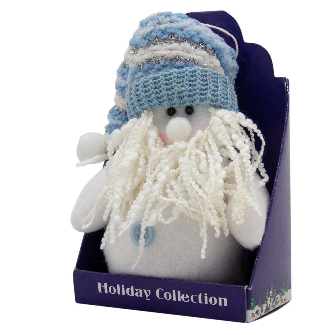Мягкая игрушка сувенирная, Белый Дед Мороз в голубой шапке, 14 см (000029-2)