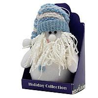 Мягкая игрушка сувенирная, Белый Дед Мороз в голубой шапке, 14 см (000029-2), фото 1