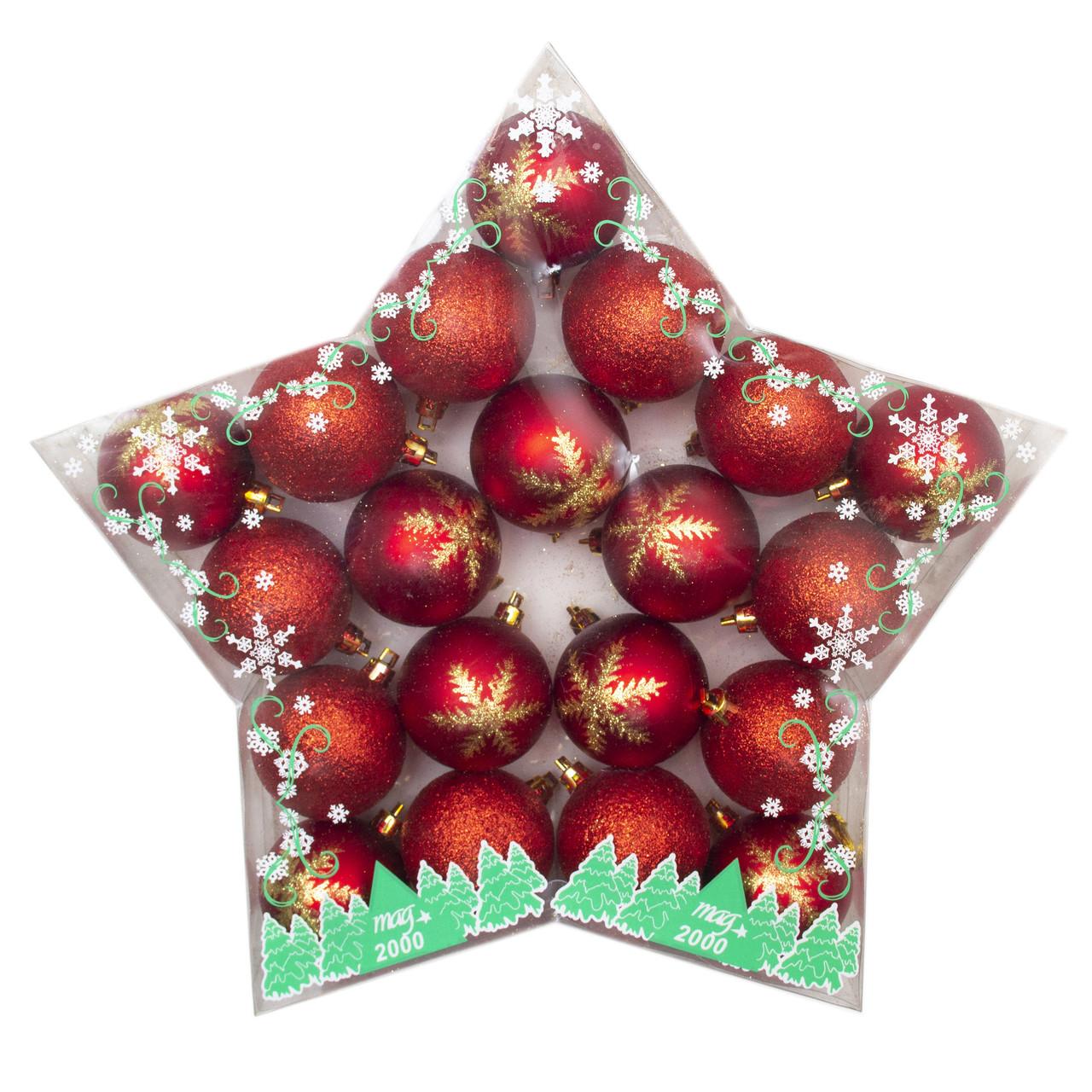 Набор елочных шаров в коробке в форме звезды 60*20шт (10блист.,10мат с декор.), пластик, красный (030798-3)