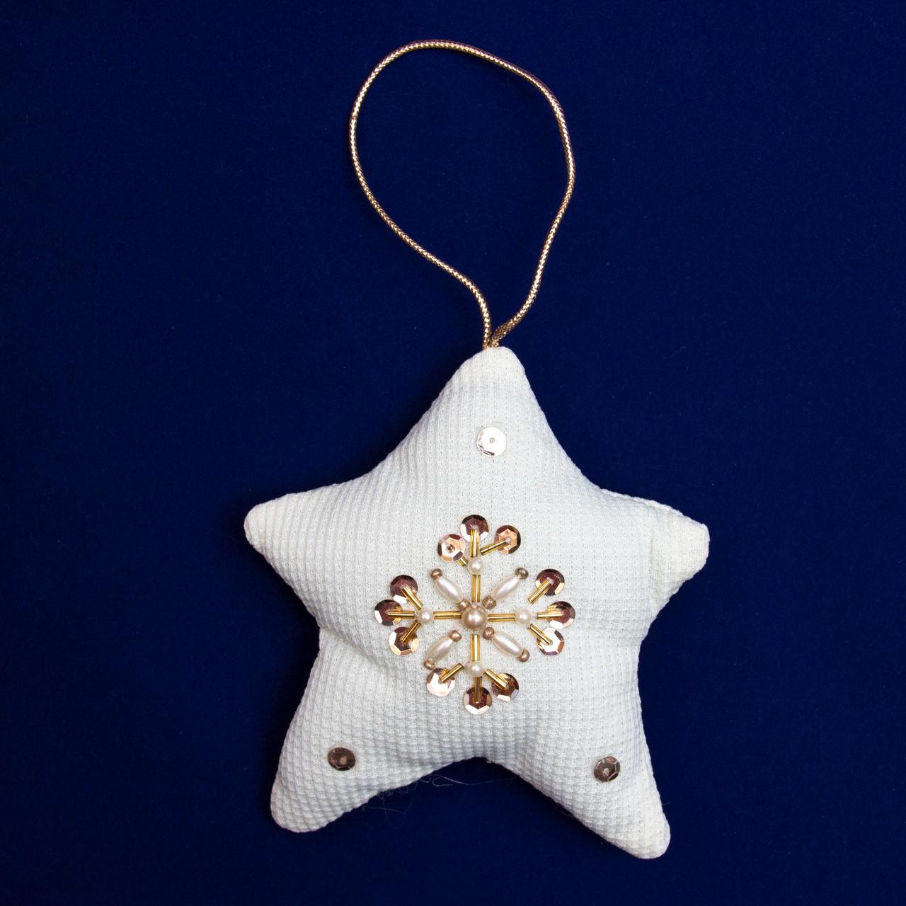 Елочное украшение из ткани с бисером, 8 см, звезда (430086-2)