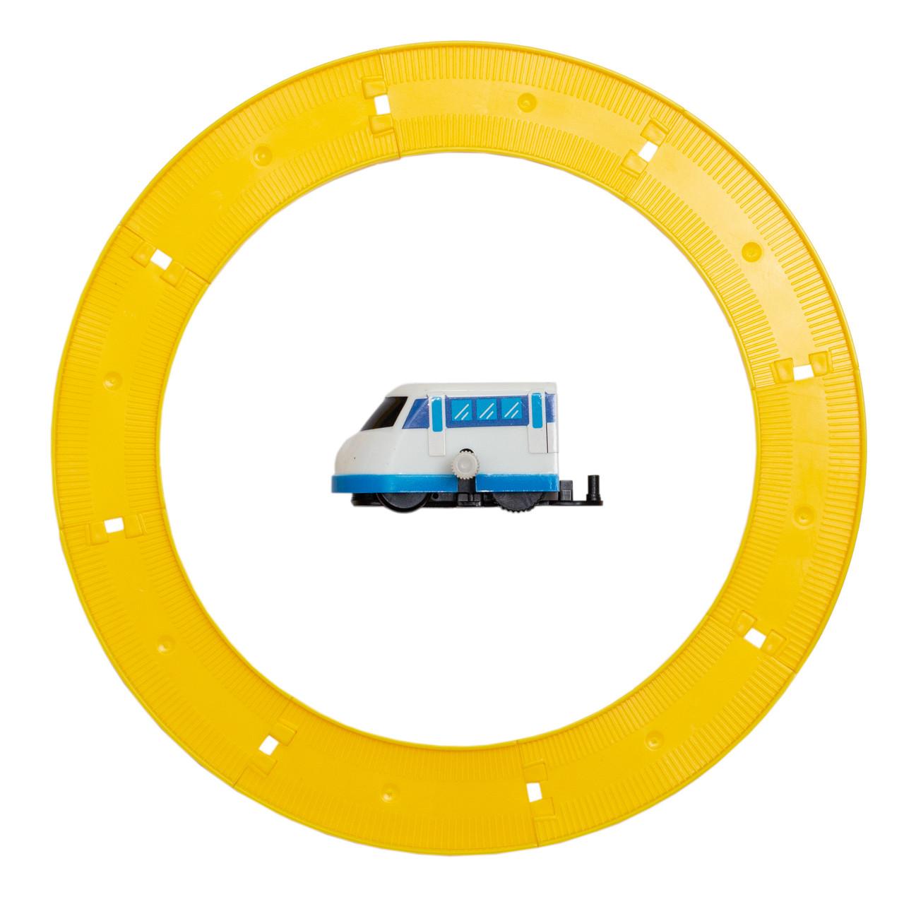 Іграшка заводна - поїзд з треком Aohua,  діаметр треку 16 см, довжина поїзда 5,5 см, блакитний (8023A-3-1)