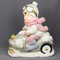 Фигурка сувенирная Мальчик на снегоходе, магнезия, 39,5*24,5*42см. (920067)