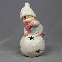Светящаяся фигурка Мальчик со снежным комом, керамика, 8,5*9*17,5см (920128-1)