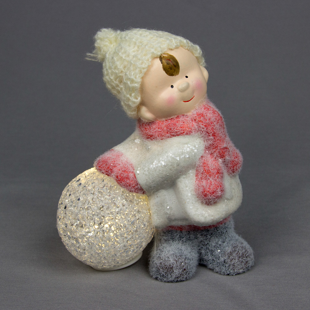 Светящаяся фигурка Мальчик со снежком, 10,5*8*18 см., (920135)