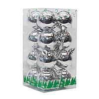 Набор елочных шаров в боксе 40*16 шт., пластик, глянец Серебро (890650)