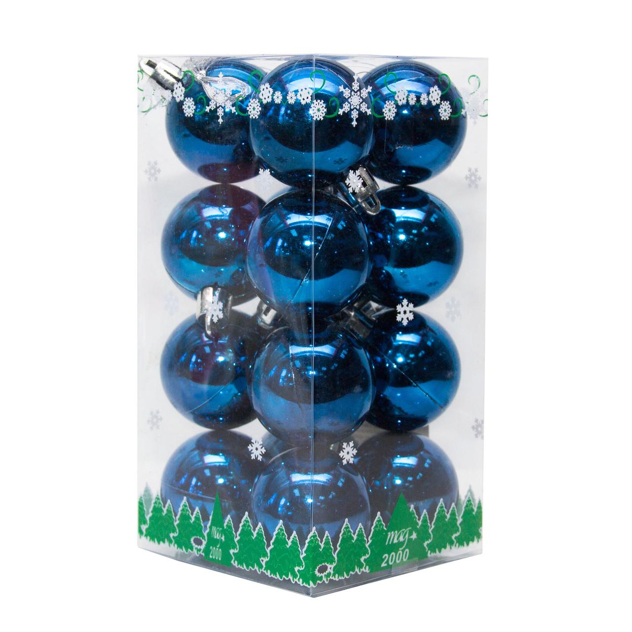 Набор елочных шаров в боксе 40*16 шт., пластик, глянец Синий (890681)