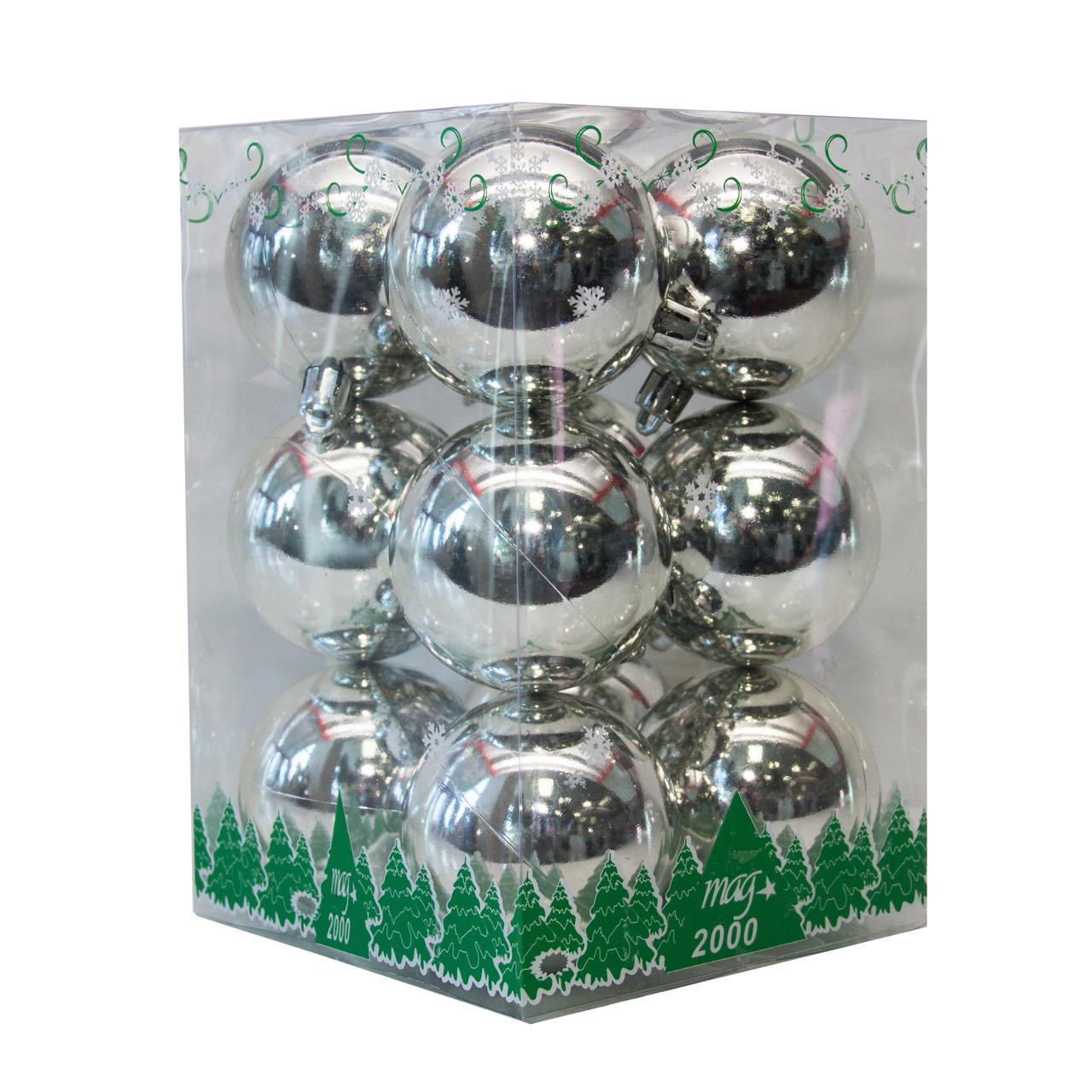 Набор елочных шаров в боксе 60*12 шт., пластик, глянец Серебро (890735)