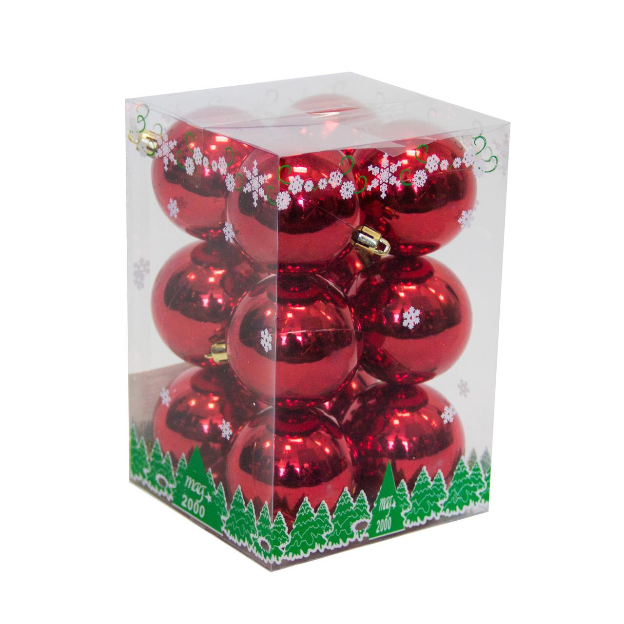 Набор елочных шаров в боксе 60*12 шт., пластик, глянец Красный (890759)