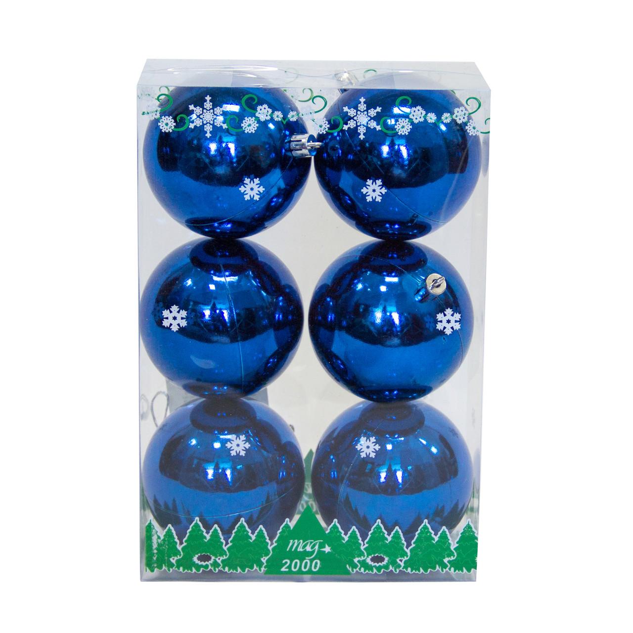 Набор елочных шаров в боксе 80*6 шт., пластик, глянец Синий (890841)