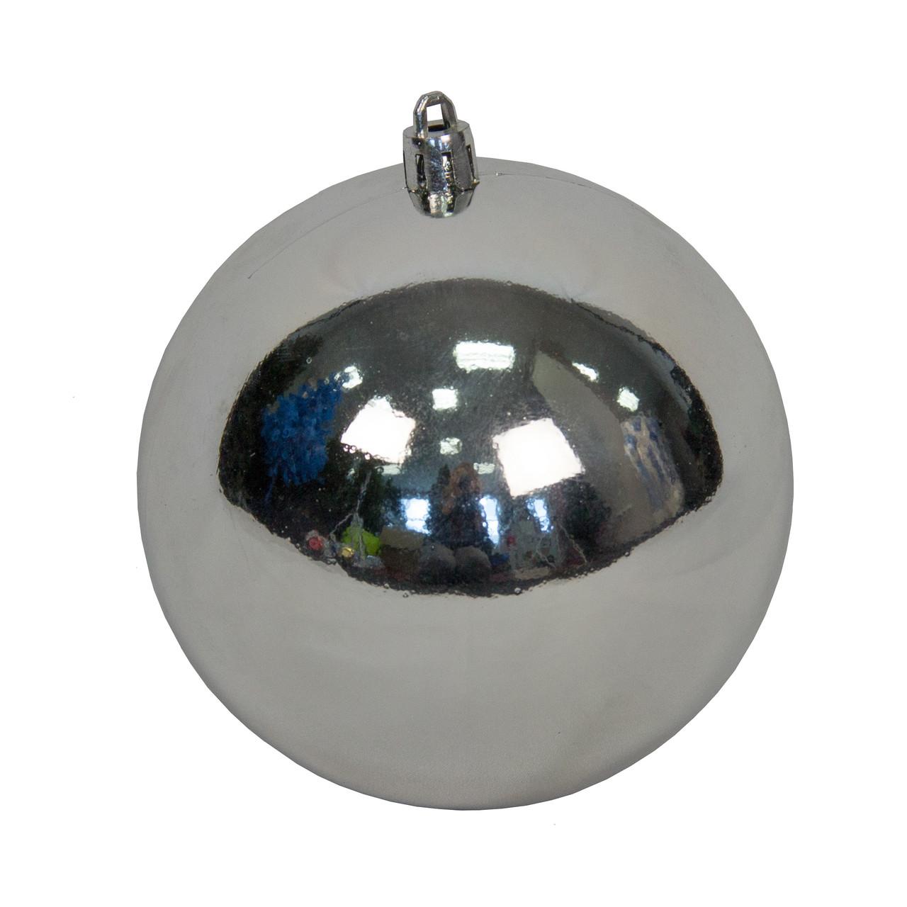 Шар пластиковый глянцевый d-10см, серебро (890254)