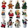 Новогодняя елочная игрушка - фигурка Снеговик с подарком, 9 см, белый, полистоун (000180-5), фото 3
