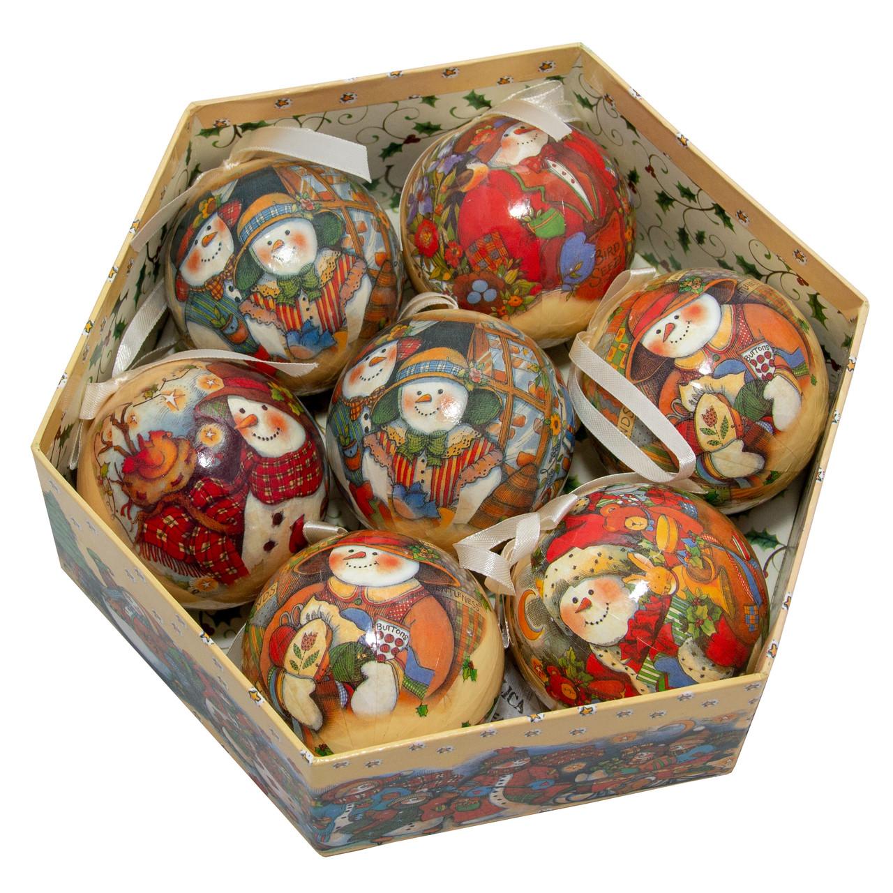 Набор елочных игрушек - шары Снеговик, 7 шт, D7,5 см, разноцветный с росписью, пенопласт (420025-3)