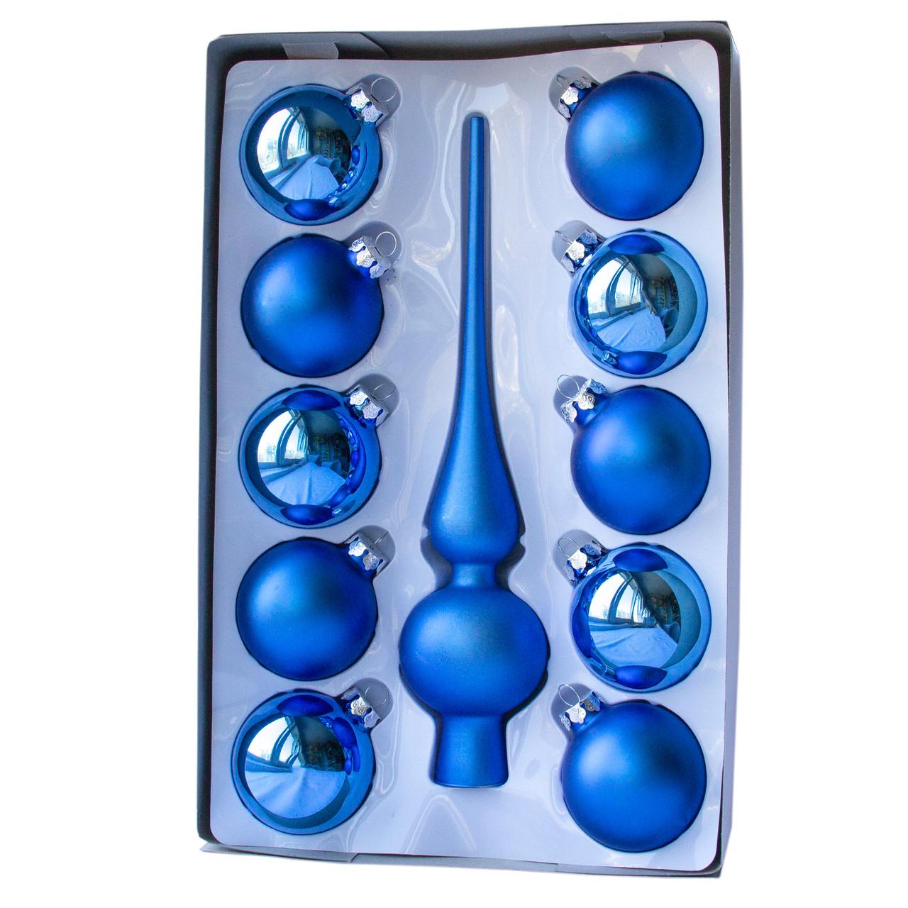 Набор елочных шаров с верхушкой, 11шт, стекло, синий (390250-3)