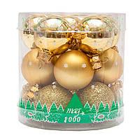 Набор елочных шаров 3*15шт. в тубе, стекло, золото (390014-2)