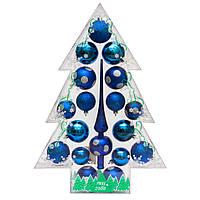 Набор елочных шаров (17шт) с верхушкой в коробке в форме елки, пластик, синий (030811-4)