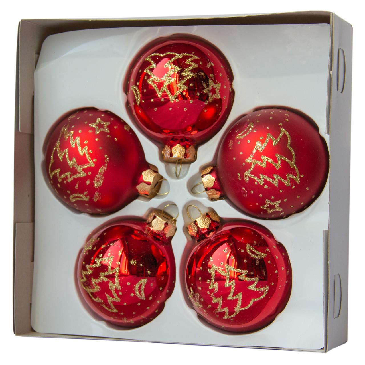 Набор елочных шаров с декором 6*5шт (3 гл., 2 мат.), стекло, красный елка (390304-3)